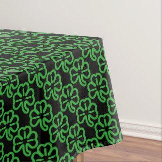 Black Green St Patricks Day Shamrock Clover Irish Tablecloth