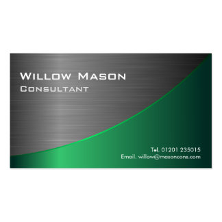 Black Green Stainless Steel Curved, Business Card