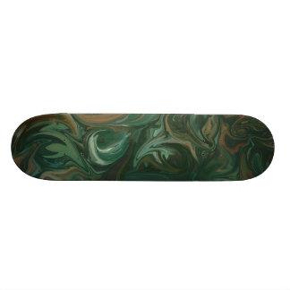 Black Green Swirl Skateboard