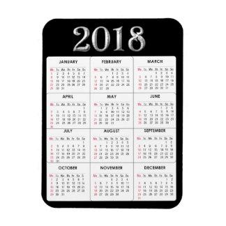 Black Grey  2018 Calendar Refrigerator Magnet