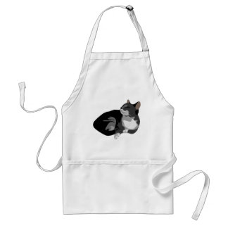 Black grey and white arty cat design aprons