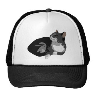 Black grey and white arty cat design cap