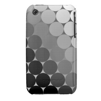 Black, Grey and White Geometric Cirlces Pattern iPhone 3 Cover