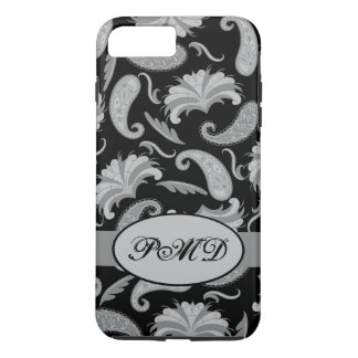 Black Grey Art Deco Parisian Paisley Monogram iPhone 8 Plus/7 Plus Case