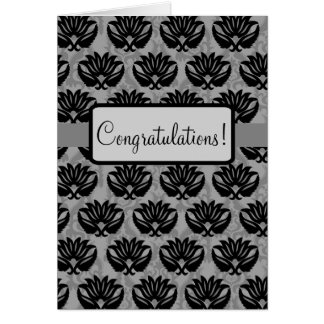 Black Grey Art Nouveau Damask Congratulations Card