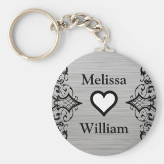 Black Grey Bride Groom Names Floral Wedding Basic Round Button Key Ring