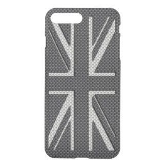 Black & Grey Carbon Fiber UK Flag Union Jack iPhone 7 Plus Case
