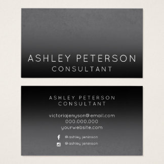 Black grey cement ombre minimal typography business card