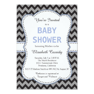 Black & Grey Chevron, Blue Baby Shower Invitation