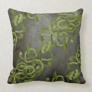 Black Grey Decor Colour Pillow Faux Leather Vines