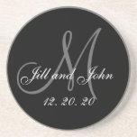 Black Grey Elegant Monogram Wedding Sandstone Coaster