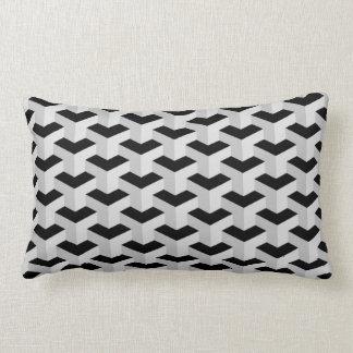 Black & Grey Geometric Pattern Lumbar Cushion
