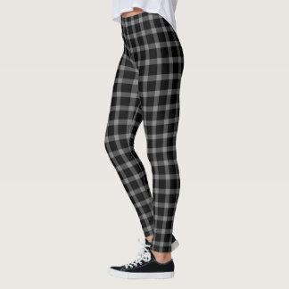 Black Grey Gingham Tartan Plaid Leggings