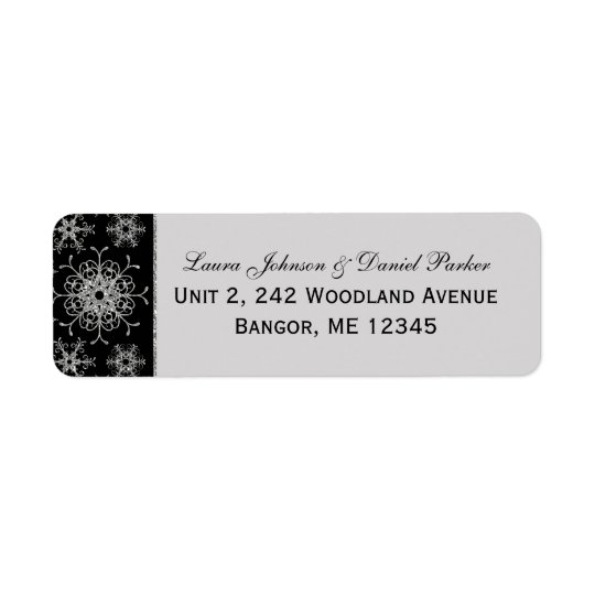 Black Grey Glitter Snowflakes Return Address Label
