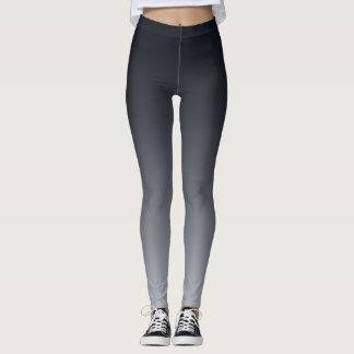 Black grey gradient . Ombre . Leggings