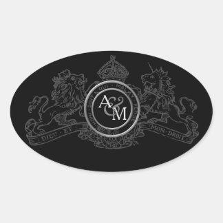 Black Grey Lion Unicorn Crown Wedding Emblem Oval Sticker