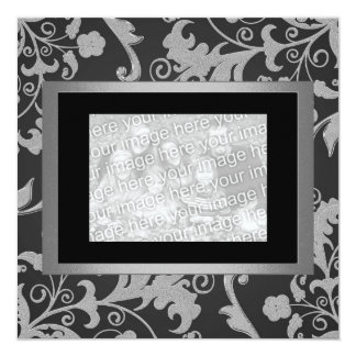 Black Grey Metallic Floral Engagement Photo 1 Card