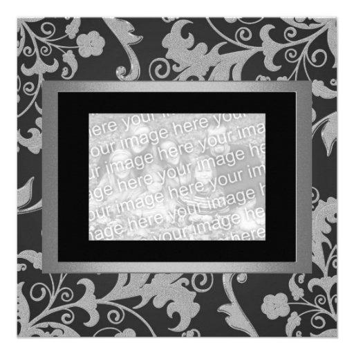 Black Grey Metallic Floral Engagement Photo 1 Custom Invites