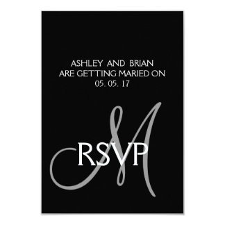 Black Grey Modern Simple Wedding RSVP Card 9 Cm X 13 Cm Invitation Card
