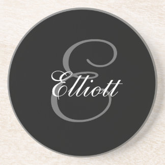 Black Grey Monogram E Wedding Anniversary Coaster