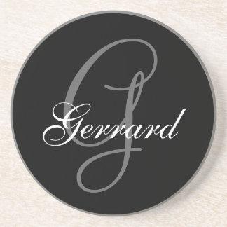 Black Grey Monogram G Wedding Anniversary Coaster