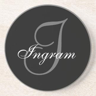 Black Grey Monogram I Wedding Anniversary Coaster