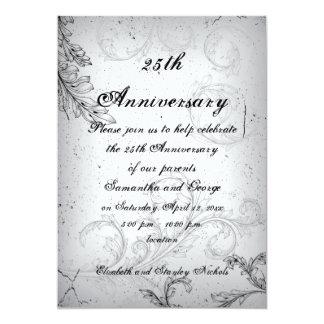 Black grey scroll leaf silver wedding anniversary card