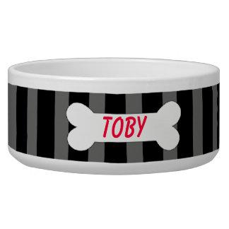Black & Grey Stripes With Bone Pet Bowl