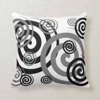 Black Grey Swirly Twirly Pillow