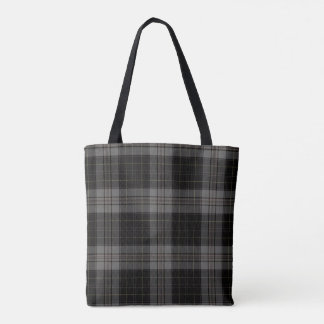 Black Grey Tartan Plaid Tote Bag