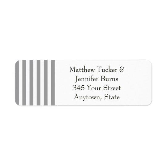 Black / Grey & White Striped Return Address Labels