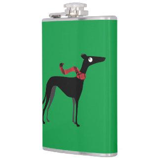 Black greyhound hip flask
