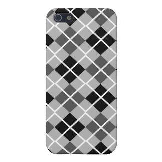 Black, Greys & White Argyle  iPhone 5 Case