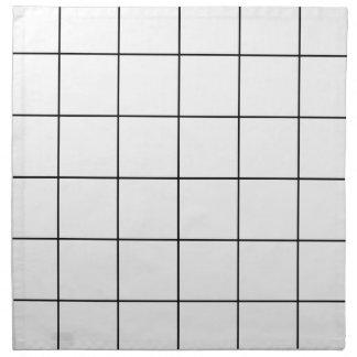black grid ,   white background napkin