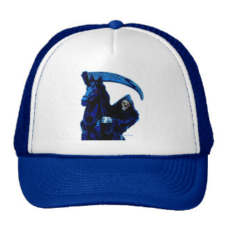 Black Grim Reaper Horseman w Blue Neon by Valpyra Mesh Hats