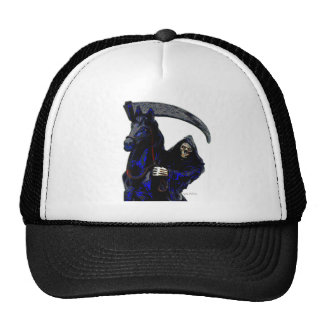 Black Grim Reaper Horseman w Neon by Valpyra Mesh Hat