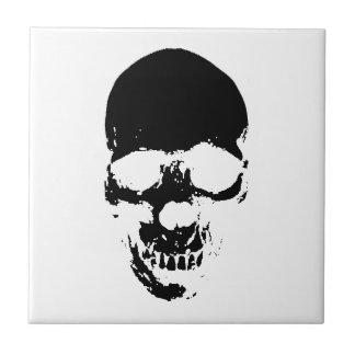 Black Grim Reaper Skull Ceramic Tile