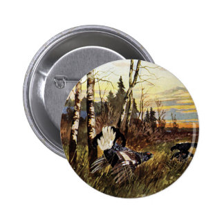 Black Grouse Mating Display 6 Cm Round Badge