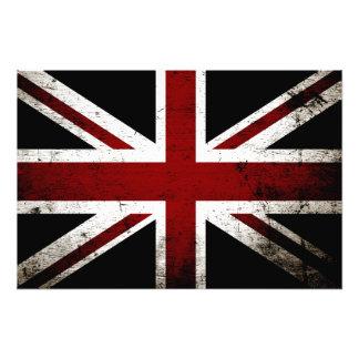 Black Grunge England Flag 3 Photo Print