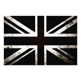 Black Grunge England Flag 4 Photo Print