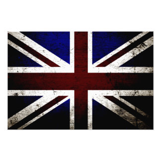 Black Grunge England Flag Photograph