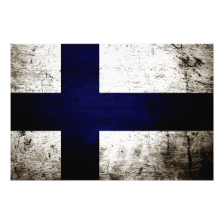 Black Grunge Finland Flag Photo Print
