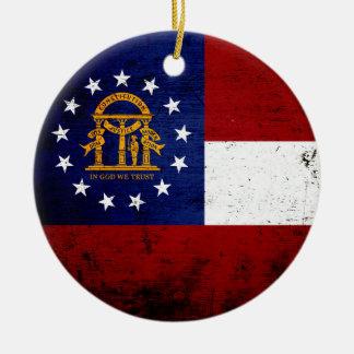 Black Grunge Georgia State Flag Ceramic Ornament