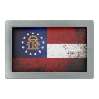 Black Grunge Georgia State Flag Rectangular Belt Buckle
