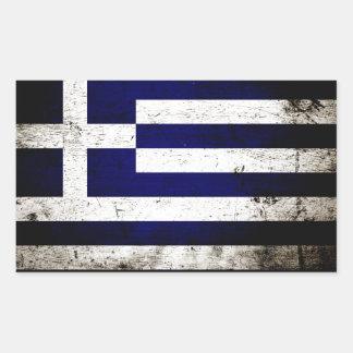 Black Grunge Greece Flag Rectangular Sticker