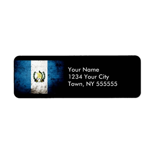 Black Grunge Guatemala Flag Return Address Label
