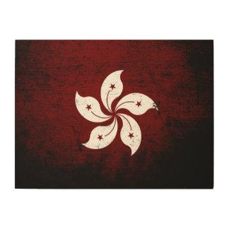 Black Grunge Hong Kong Flag Wood Print