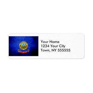 Black Grunge Idaho State Flag Return Address Label