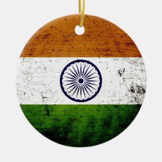 Black Grunge India Flag Ceramic Ornament