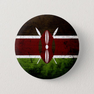 Black Grunge Kenya Flag 6 Cm Round Badge
